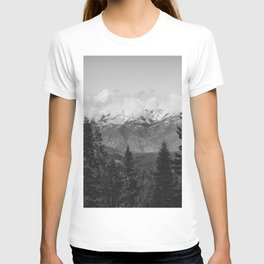 Snow Capped Sierras - Black and White Nature Photography T-shirt