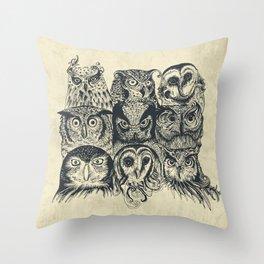 Nine Owls Throw Pillow