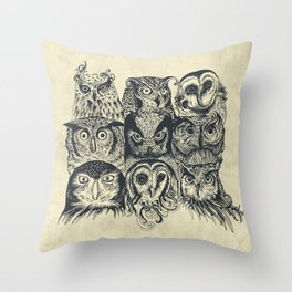 Nine Owls Throw Pillow