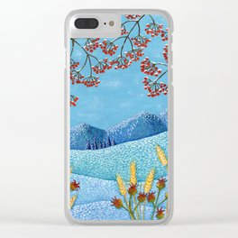 Winter Mountain Colorful Fields Clear iPhone Case