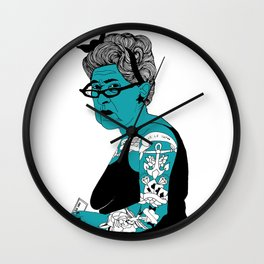 Tattoo Lady colour by Emilythepemily Wall Clock
