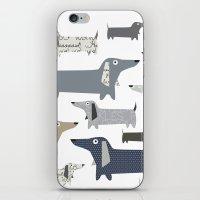 daschund iPhone & iPod Skins featuring Weiner Dog Pattern by Taylor Engelsman