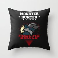 monster hunter Throw Pillows featuring Monster Hunter All Stars - Howling Devils by Bleached ink