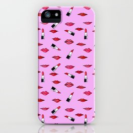 Lips and lispticks pattern in pinkish background iPhone Case