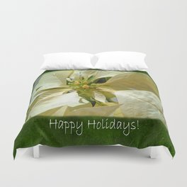 Pale Yellow Poinsettia 1 Happy Holidays P1F5 Duvet Cover