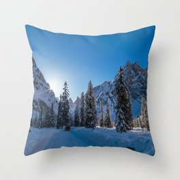Sunny morning in Val Fiscalina Throw Pillow
