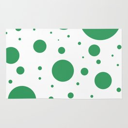 Kelly Green and White Bubbles Rug