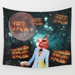 Ticket to the Moon Full of Bacon Wall Tapestry