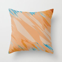 orange brown and blue painting abstract background Throw Pillow