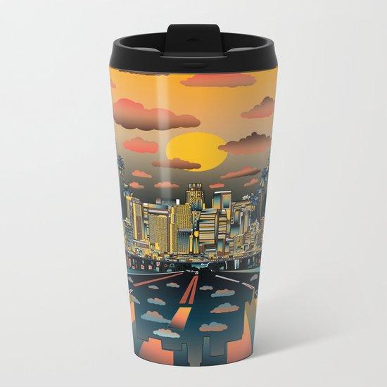 los angeles city skyline Metal Travel Mug