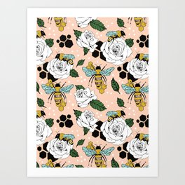 Bees on the flowers Art Print