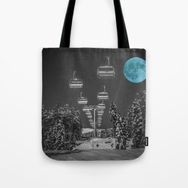 Chair Lift to the Teal Moon Tote Bag
