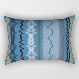 Assorted Waves And Lines In Blue Green Rectangular Pillow