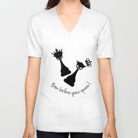 feminism V-neck T-shirts featuring Chess Cats - Feminism by La Gata Venenosa
