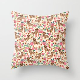 Dapple cream Dachshund doxie floral florals dog breed gifts for pupper must haves Throw Pillow