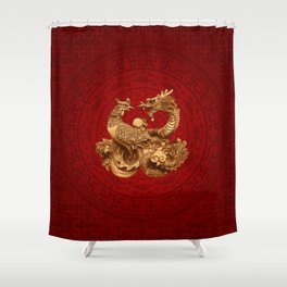 Phoenix and Dragon - on red Shower Curtain