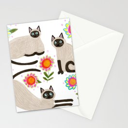 Siamese Cats and flowers Stationery Cards