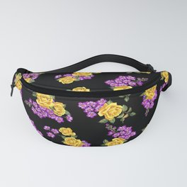Yellow and purple flowers. Purple buttercups. Roses are yellow, peonies. Watercolor. Fanny Pack