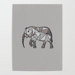 elephant geometric, bishop grey 2, home decor, Graphicdesign Poster