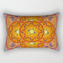 Bee Bloom Round Mandala Style Two Rectangular Pillow
