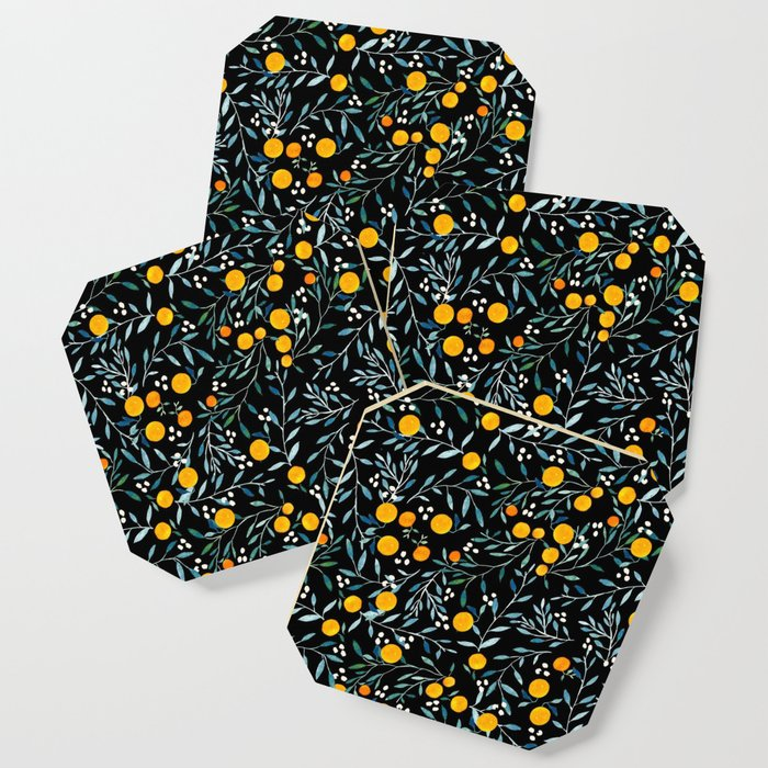 Oranges Black Coaster