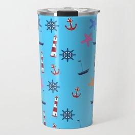 Nautical Beach Pattern Travel Mug