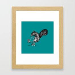 Ride On Squirrel_teal Framed Art Print