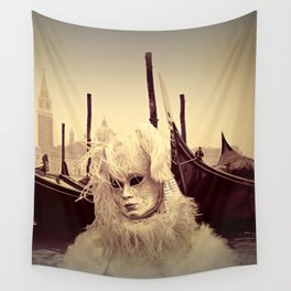 Venice Italy Carnival - Girl in Mask and Gondolas Wall Tapestry