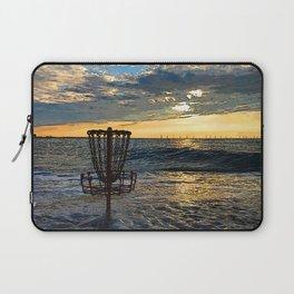 Disc Golf Basket Chesapeake Bay Virginia Beach Ocean Sunset Laptop Sleeve
