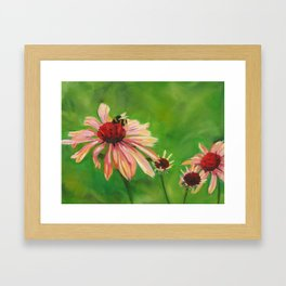 Flowers with Bee Framed Art Print