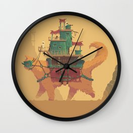 Pixel Art - Monster Cat Machine by Romain Courtois Wall Clock