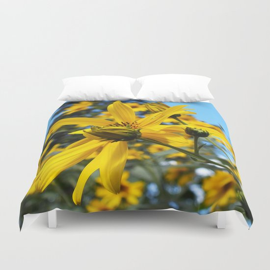 Sunflowers and the Pine Tree Duvet Cover