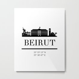 BEIRUT LEBANON BLACK SILHOUETTE SKYLINE ART Metal Print