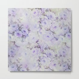 Vintage lavender gray botanical roses floral Metal Print