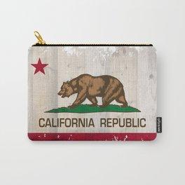 California Republic flag on woodgrain   Carry-All Pouch