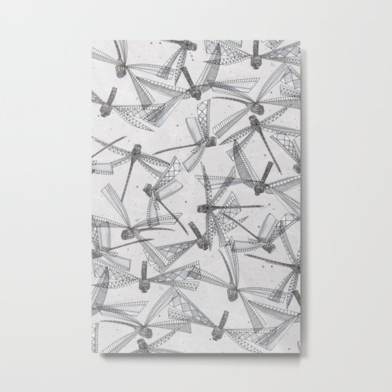 watercolor dragonflies silver Metal Print