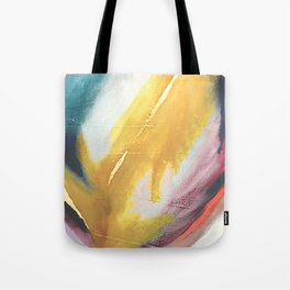 Ambition: a colorful abstract piece in bold yellow, blue, pink, red, and gold Tote Bag