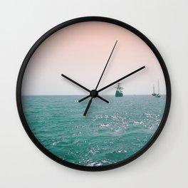 Pirate ship at sea Wall Clock