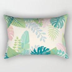 Pastel Jungle Tropical Leaf Pattern Rectangular Pillow