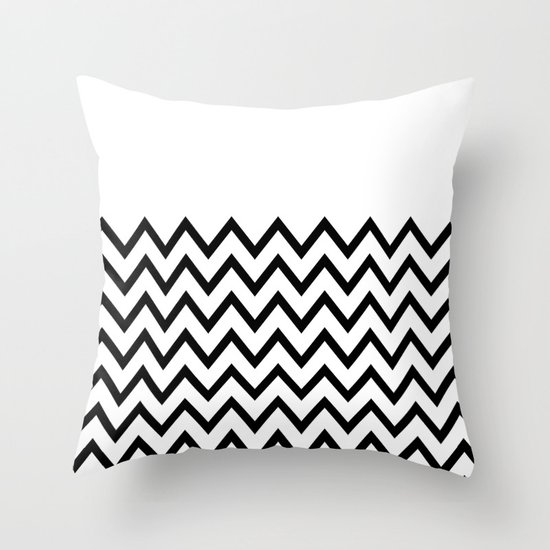 Black Chevron On White Throw Pillow