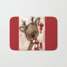 Red Bird and Reindeer - Christmas Holiday Art Bath Mat