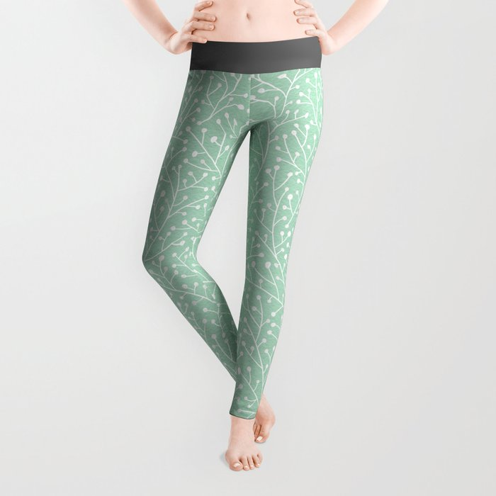 Mint Berry Branches Leggings