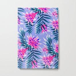 Aechmea Fasciata - Light Blue / Pink Metal Print