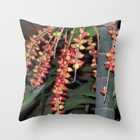 indonesia Throw Pillows featuring coffee plant (Bali, Indonesia) by Christian Haberäcker - acryl abstract