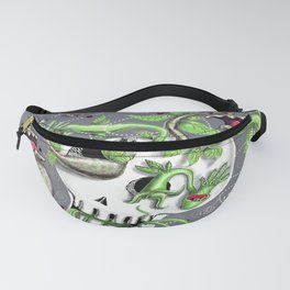 skull pot with carnivorous plants Fanny Pack