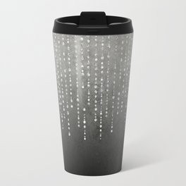 Silver Glamour Faux Glitter on grey Texture Travel Mug
