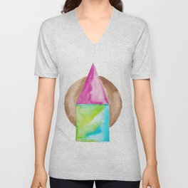 180818 Geometrical Watercolour 6| Colorful Abstract | Modern Watercolor Art Unisex V-Neck