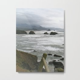 Stormy day at Cannon Beach Oregon  Metal Print