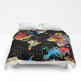 World Map Black - 1 Comforters