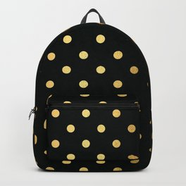 Gold polka dots on black pattern Backpack